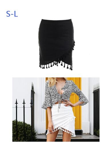 Tassel White Black Women Skirt High Waist Elastic Pencil Black Mini Skirt Streetwear  Short Beach Summer Skirt Female