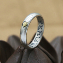 S925 Sterling Silver Jewelry Men and Women Couples Ring Ring Six Character Mantra Thai Silver Star Fashion Ring s925 sterling silver classical minimalist ring jewelry men women fashion couple ring