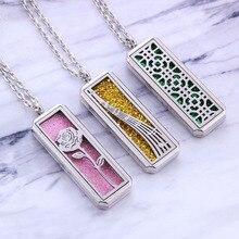 Прямоугольный медальон для ароматерапии из нержавеющей стали цветок розы парфюм эфирное масло ожерелье с кулоном-диффузором модный подарок для девочек