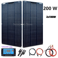 BOGUANG Solar Panel Cell 200W 12V 24V 100W 2pcs Flexible Photovoltaic System CE 20A controller Cable Free shipping China