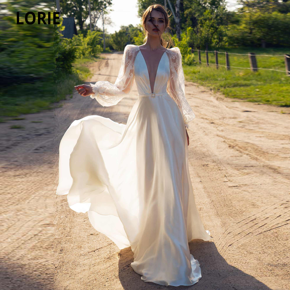 LORIE Satin Beach Wedding Dresses Sexy V-Neck Lace Bridal Gowns Long Sleeve Illusion Open Back Bohemian Bride Dress Plus Size