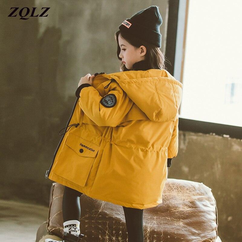 ZQLZ enfants veste d'hiver filles 2019 nouveau décontracté à capuche chaud coton manteau enfants mode longue Parka grands garçons vêtements d'extérieur épais