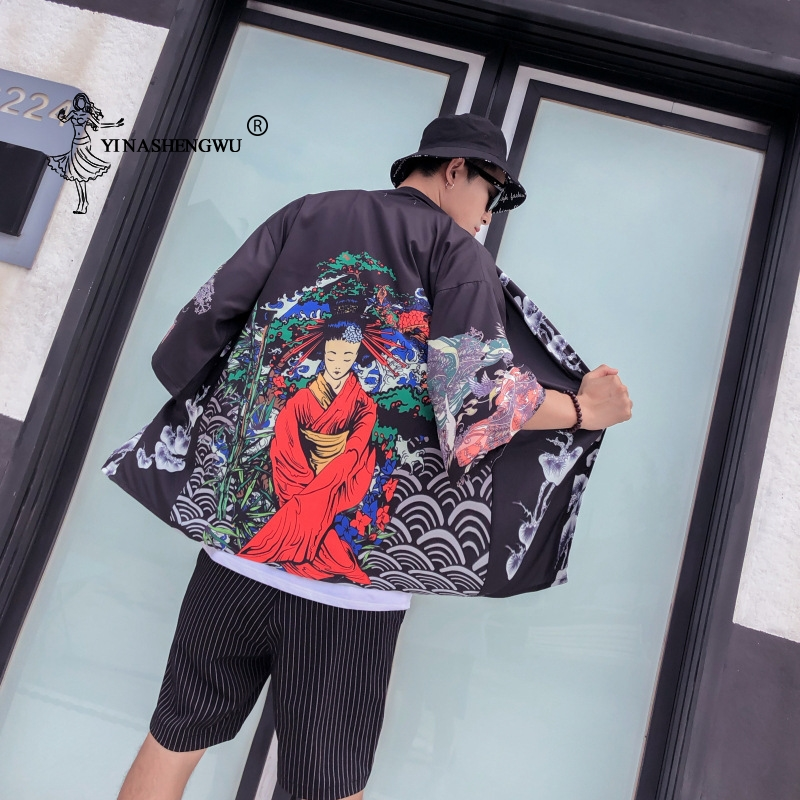 Kimono Cardigan Men Japanese Kimono Traditional Robe Beach Thin Holiday Kimono Cosplay Costume Print Yukata Women Shirt Unisex