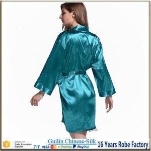 Image 4 - Silk robe satin cocktail robe wedding bridal party gift gown ladys nightgown bathrobe bridesmaid robe