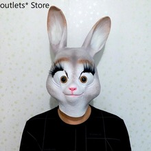 Halloween Bunny Mask Animal Headgear Latex Mask Funny Animal Mask Full Face