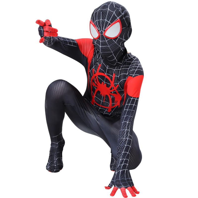 spider costueme man fantasia miles morales zentai costumes white Man For kids Cosplay Suit Red And Black Adult Men's boy costume 4