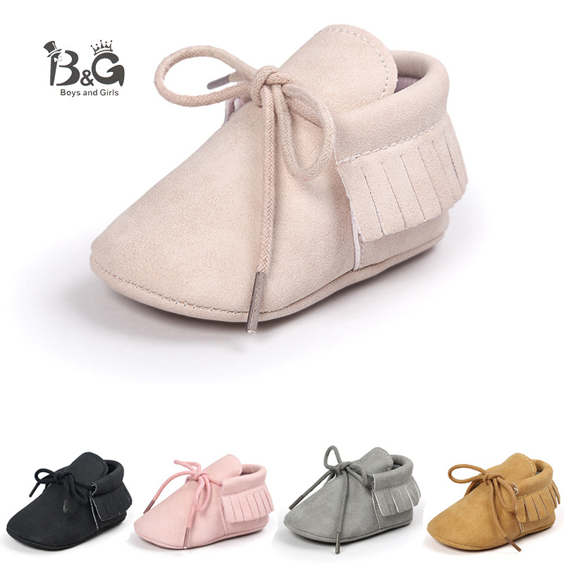 B&G Kids Soft Leather Boots Girls Princess Fringe Walking Shoes Toddler Baby First Wailkers Anti-slip