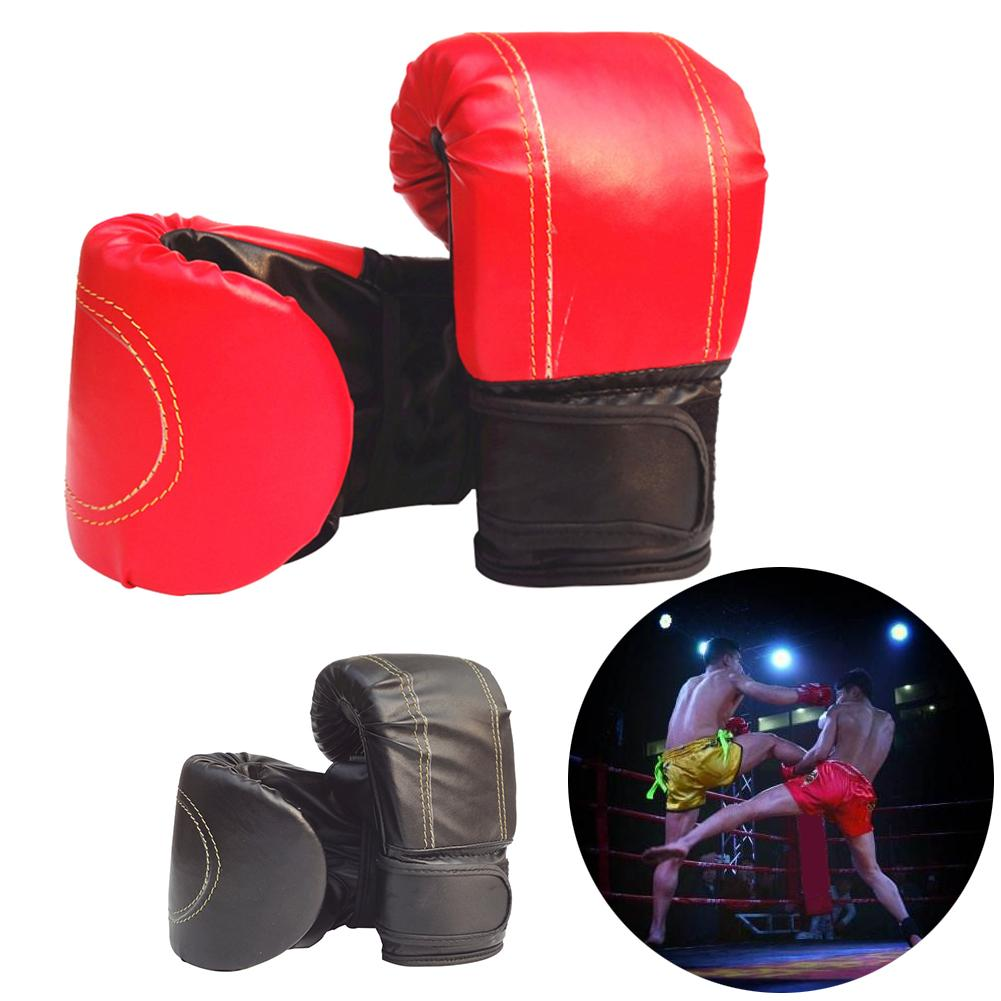 2 PAIRS 14 OZ BOXING PRACTICE TRAINING GLOVES Sparring Faux Leather Red Black