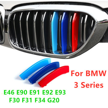 Car Front Grille Trim Strips for BMW 3 Series E46 E90 E91 E92 E93 F30 F31 F34 G20 M Accessories Grille Motorsport Stickers image