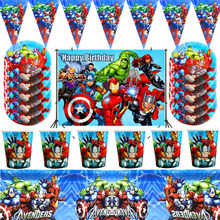 Suministros de decoraciones para fiestas de superhéroes, vajilla desechable de cumpleaños para niños, mantel, tazas, fiesta de superhéroes, recuerdos de temática para niños