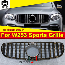 цена на For Benz W253 Sport Grille Grill GTS Style ABS Gloss Black With camera GLC-Class GLC250 350 400 look grills Without Sign 2017-in