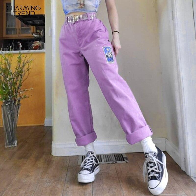Cartoon Pattern Women's Pants High Waist Vintage Straight Trousers For Ladies Summer Autumn Women Casual Streetwear Pants Light