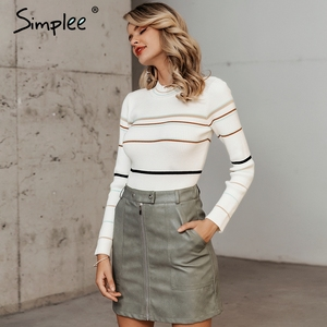 Image 4 - Simplee Stripe knitted women pullover sweater O neck autumn winter female sports sweater Long sleeve bestmatch ladies  jumper
