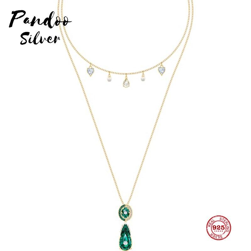 PANDOO модная подвеска Стерлинговое Серебро Оригинал 1:1 копия, ретро темперамент камень женское ожерелье с подвеской Роскошные Ювелирные изде