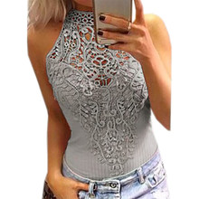 Body Lace Summer Playsuit Bodycon Sleeveless Patchwork Sexy Bodysuit Feminino 2019 New Women Rompers Hollow Out Overalls GV777(China)