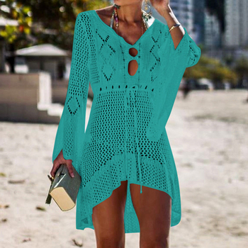Loozykit 2019 Women Crochet Knitted Cover Up Dress Beach Tunic Long Pareos Bikini Cover Bathing Suits Beachwears Robe Plage 9