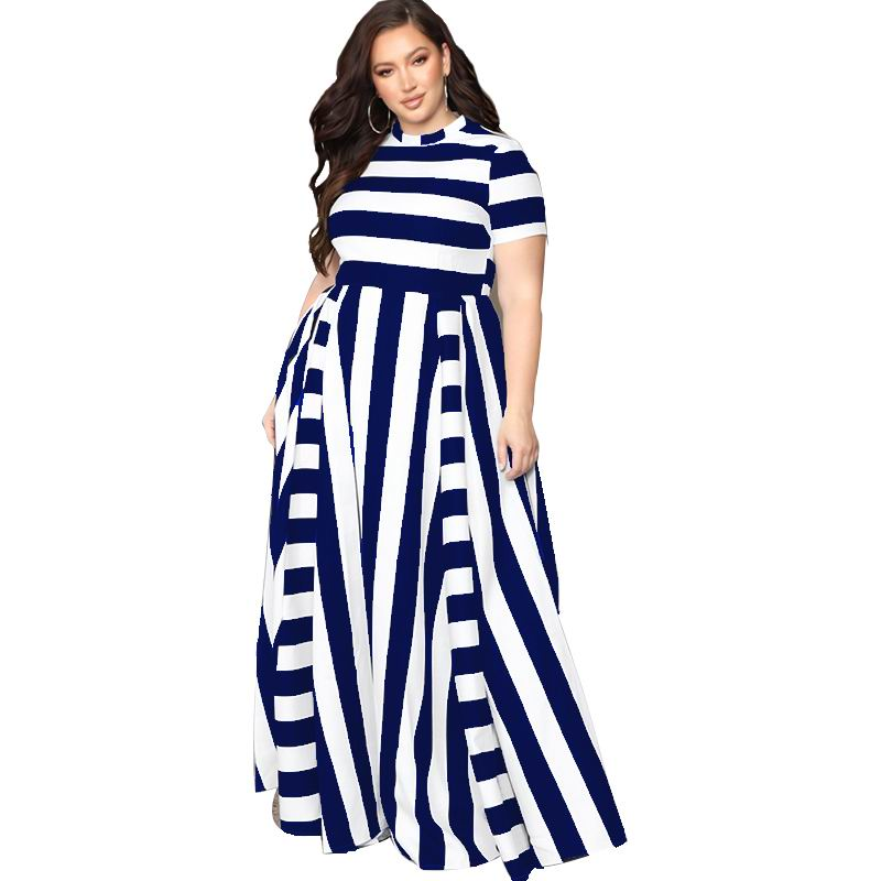 Oversized Women Maxi Short Sleeves Floor Length Casual Dress Plus Size Ladies Summer Stripes Party Tall Beauty Vestido 8