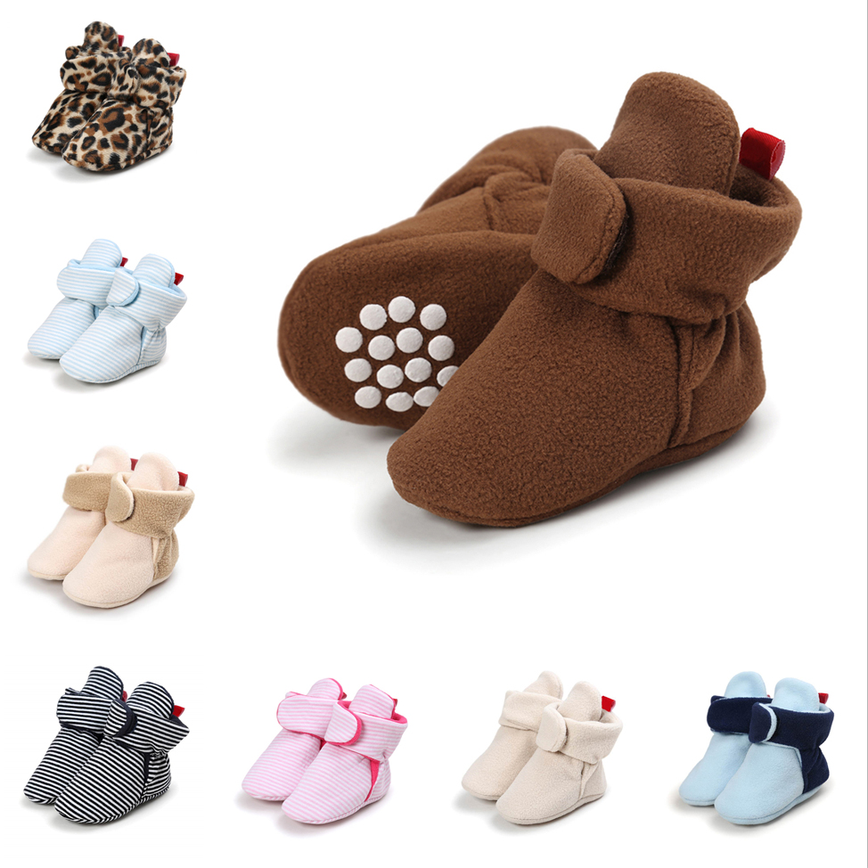 Cotton Leather Toddler Shoes Boys Winter Warm Faux Fleece Newborn Baby Crib Shoes Anti-Slip Casual Infant Baby Booties 11 Colors