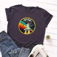 Plus Größe S-5XL Neue RAKETE Print T Shirt Frauen 100% Baumwolle O Hals Kurzarm Sommer T-shirt Tops T Shirts lustige T Shirts