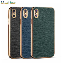 Genuine Leather Case For iPhone X XR XS Max Case Luxury Lens Full Protect Phone Case For iPhone X XR XS Max Back Cover