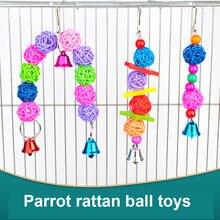 Papagaio brinquedos pendurado gaiola pássaro brinquedo rattan contas sino corda mão tecido anel de brinquedo para papagaio lovebird aves gaiola de pássaro acessórios