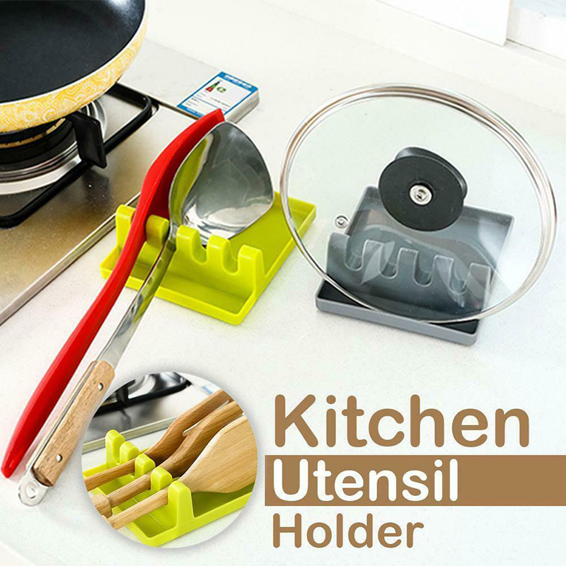 <font><b>Kitchen</b></font> Utensil Holder <font><b>Silicone</b></font> Spoon Spatula Rack Shelf Portable Multipurpose Stand image