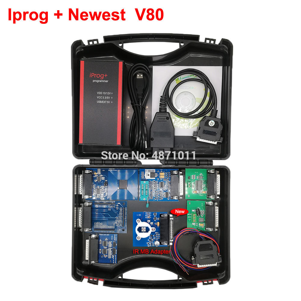 2019 V80 V77 Iprog+ Programmer Multi-function Diagnostic & Programming Tool Mileage Correction + Airbag Reset +IMMO+EEPROM