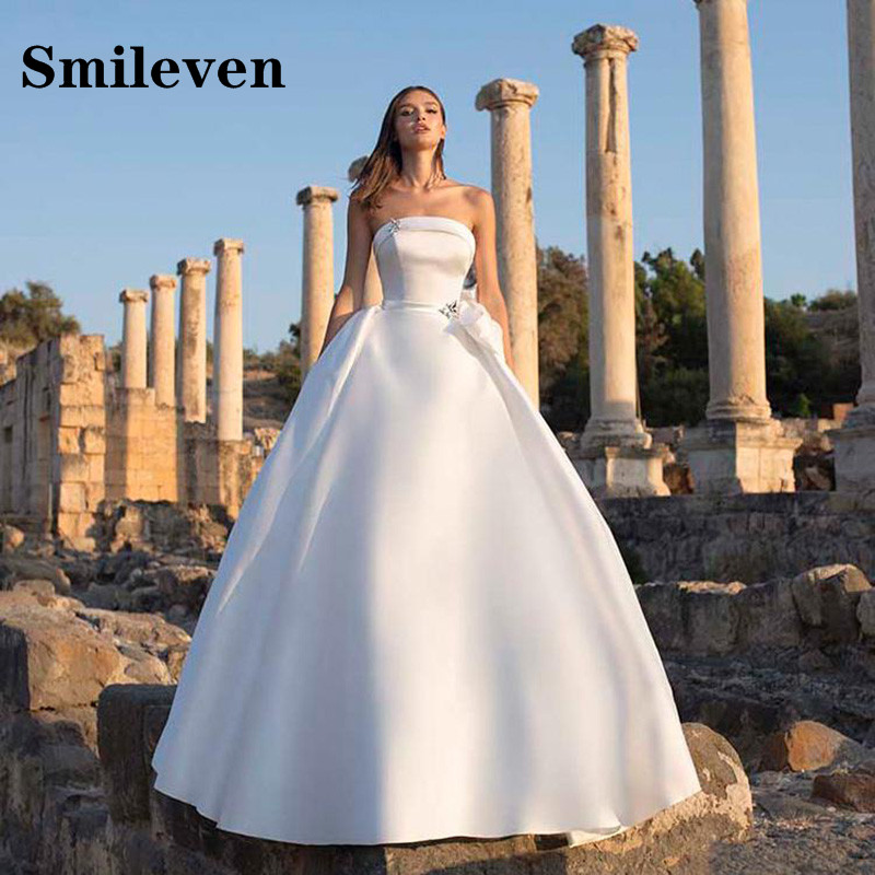 Smileven Princess Wedding Dress Strapless A Line Bridal Gowns Vestido De Noiva With Big Bow