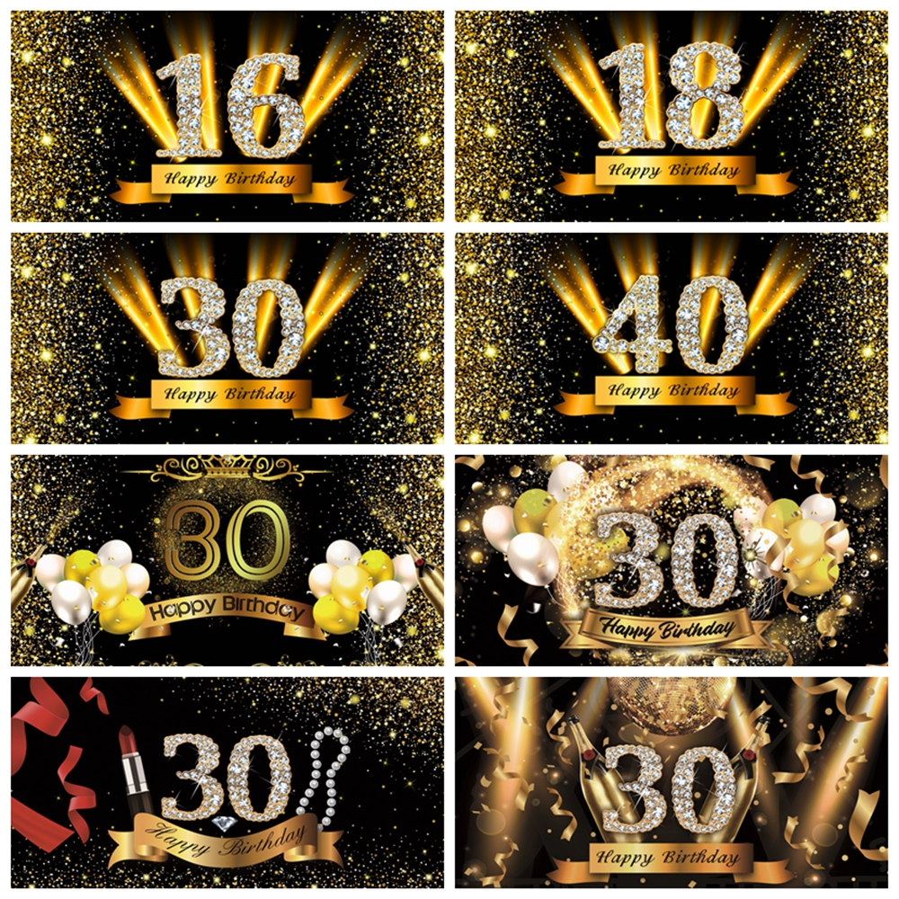Happy <font><b>50</b></font> <font><b>40</b></font> 30 18 16th Birthday Party Golden Dots Poster Photography Backdrop Photographic Background Photocall Photo Studio image