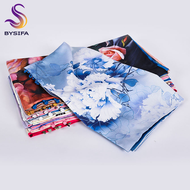 [BYSIFA] Women Army Green Silk Scarf Shawl Spring Autumn New Lotus Design Long Scarves Chinese Vintage Buttons Ladies Scarves
