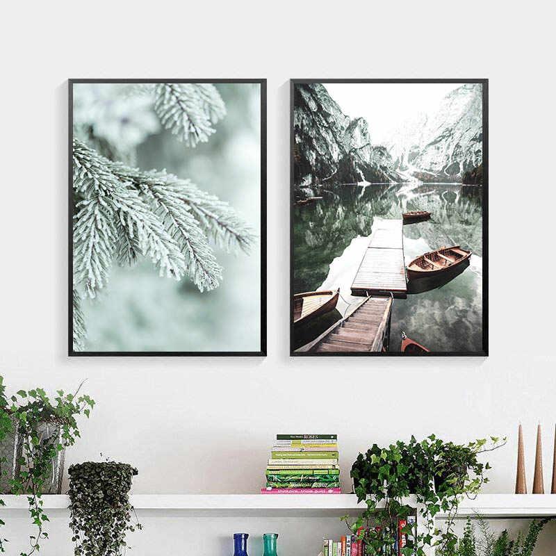 마운틴 레이크 보트 캔버스 페인팅 스칸디나비아 자연 풍경 포스터 노르딕 스타일 인쇄 벽 아트 그림 홈 갤러리 장식
