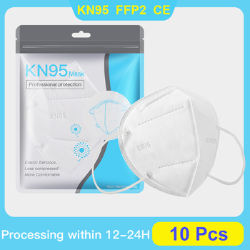 10 Pcs FFP2 Masks KN95 Maske 5-Layer Mouth Muffle Cover Mask Anti Dust Mask Ship From Spain Belgium Poland France