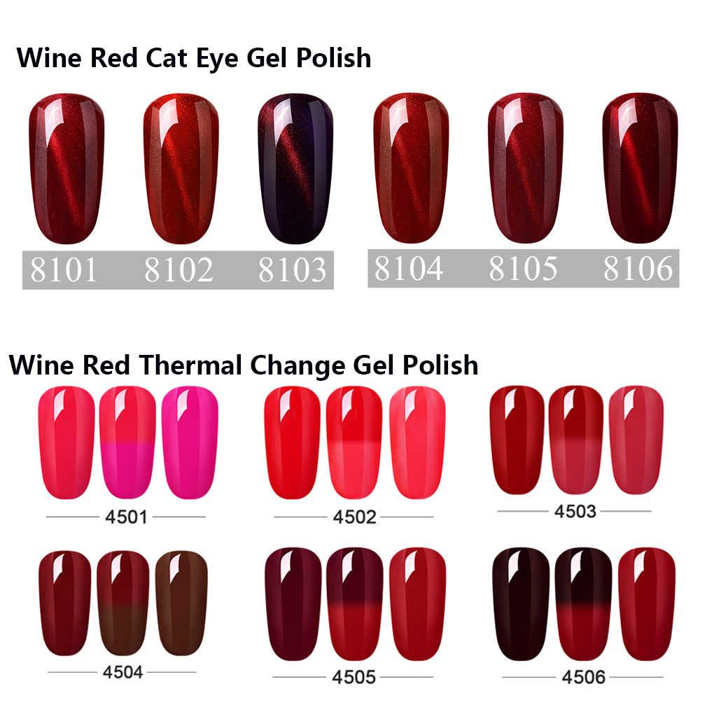 Elite99 vinho vermelho série uv gel unha polonês embeber fora ímã olho de gato prego gel mudança térmica gel polonês esmalte para maquiagem da arte do prego