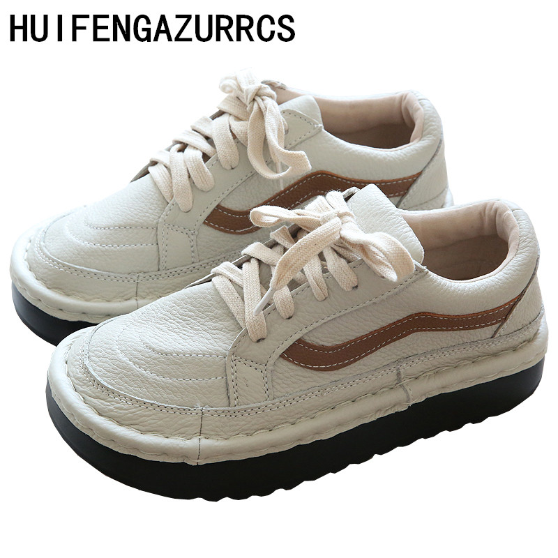 HUIFENGAZURRCS-In the spring of new Genuine leather Sen female literary thick bottom shoes handmade round head leisure