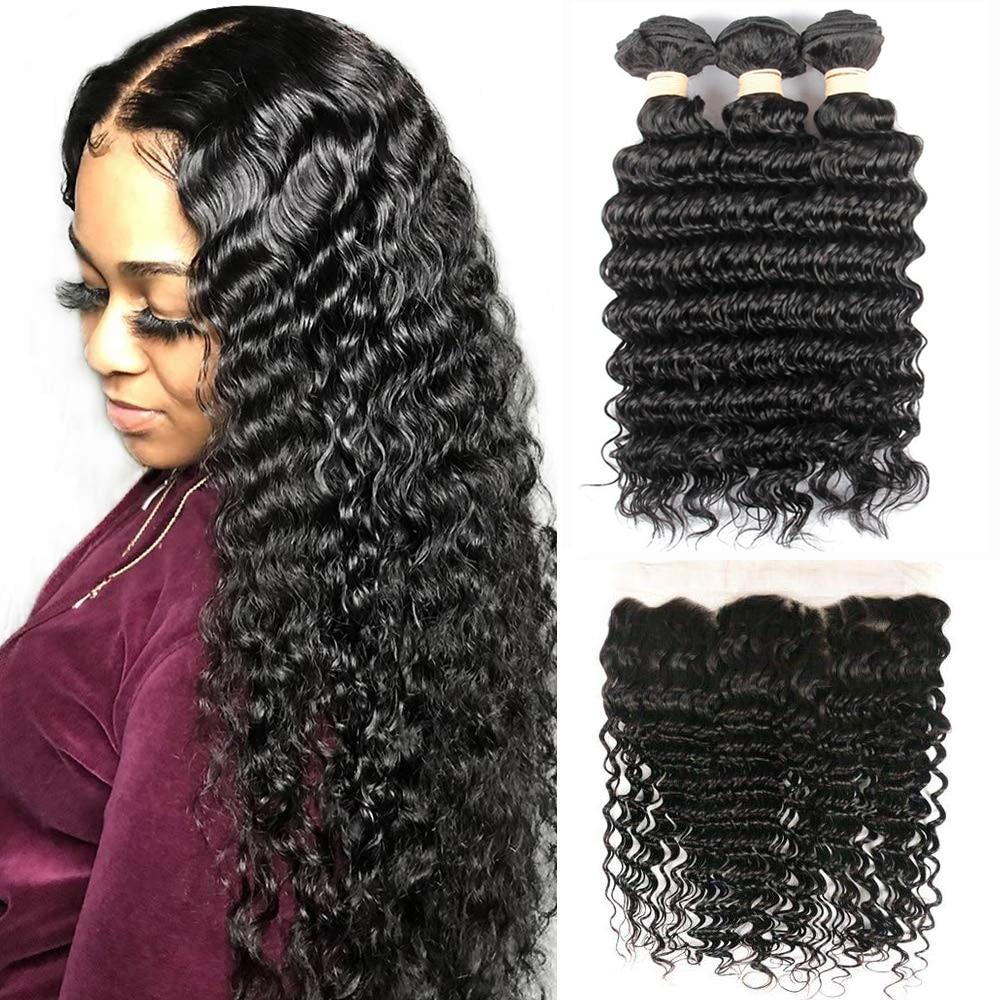 Sapphire Deep Wave Human Hair Bundles With Frontal Closure Curly Bundles With Frontal Brazilian Hair Weave Bundles With Frontal