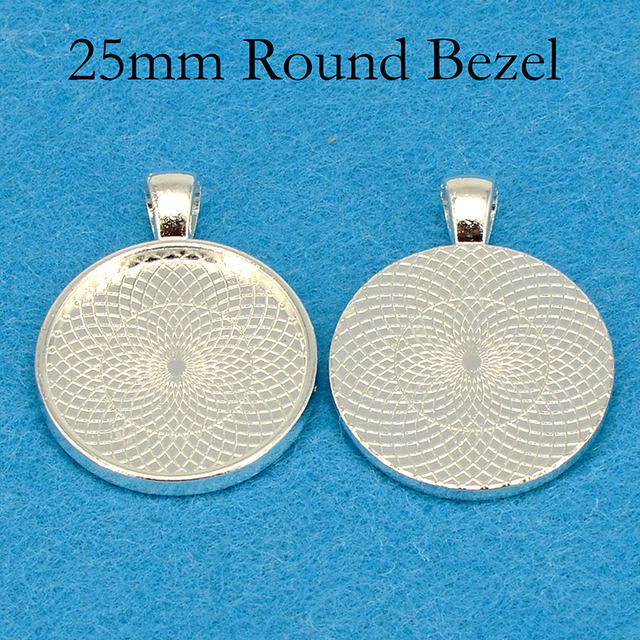 100 pcs   Silver Plated Pendant Tray, Round Pendant Setting, 25mm Pendant Bezel Blank, 25mm Cabochon Setting Resin Frame