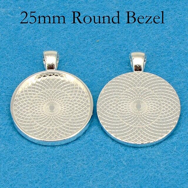 Plateau à pendentif plaqué argent, cadre de résine à pendentif rond, cadre de Cabochon de 25mm, cadre de résine, 25mm, 100 pièces