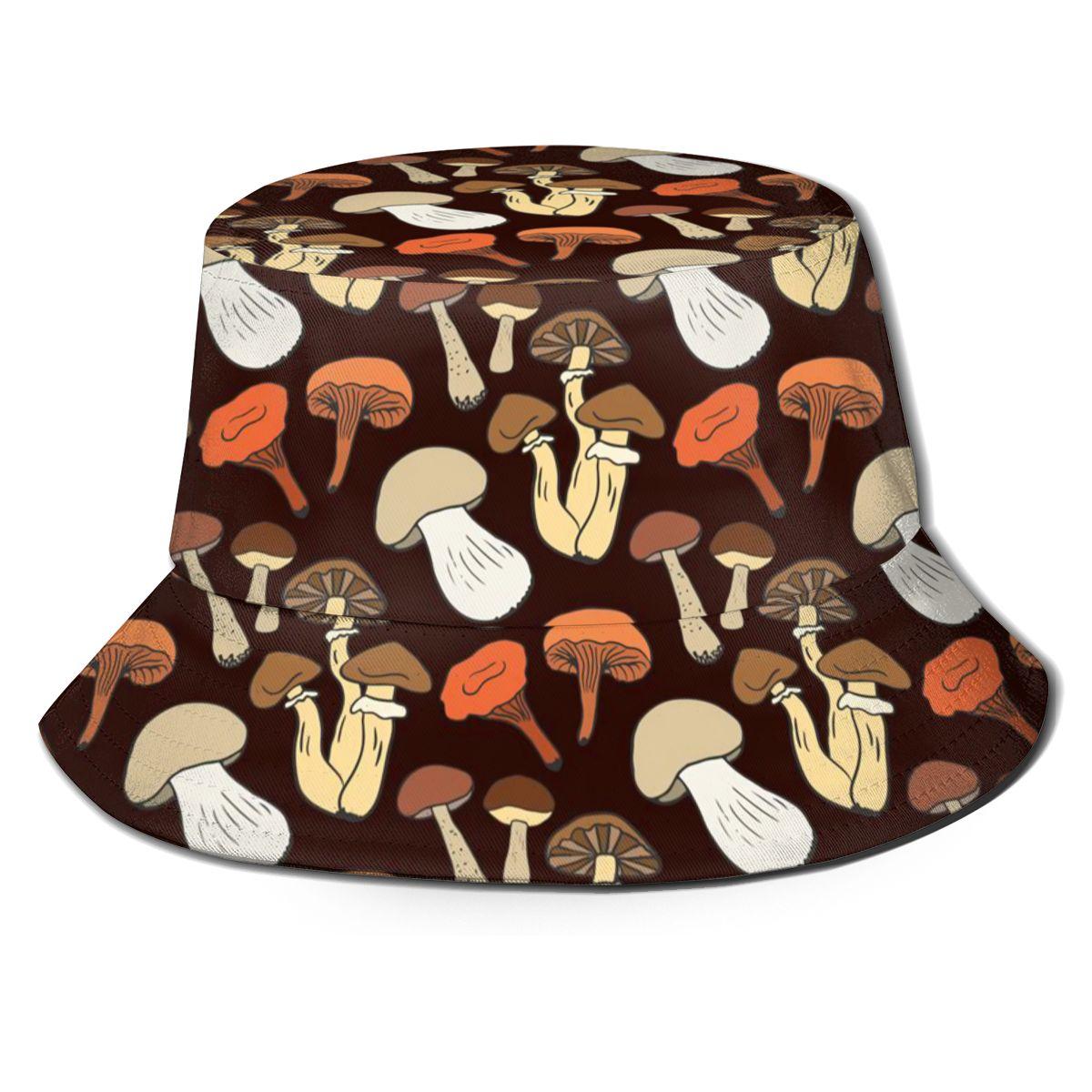 NOISYDESIGNS Mushrooms Printing Hat Women Bucket Cap Design Flat Visor Harajuku Fisherman Hats Dropshipping