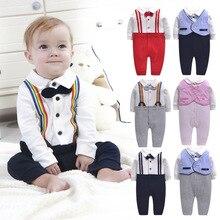 新しい赤ちゃん少年少女ボディスーツ紳士のジャンプスーツベビー服ベビー服新生児clothescotton oネックボディスーツ