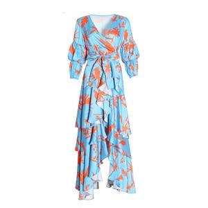 Image 3 - TWOTWINSTYLE Print Lantern Sleeve V Neck Wrap Dress Sash Waisted Asymmetric Ruffle Maxi Dresses Women Boho Fashion Autumn 2020