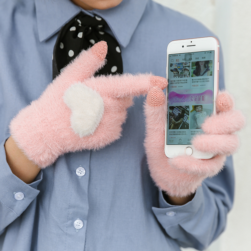 Fashionable and Knitted Touch Screen Gloves for Women Made of Soft Rabbit Wool with Pink Heart Design 3