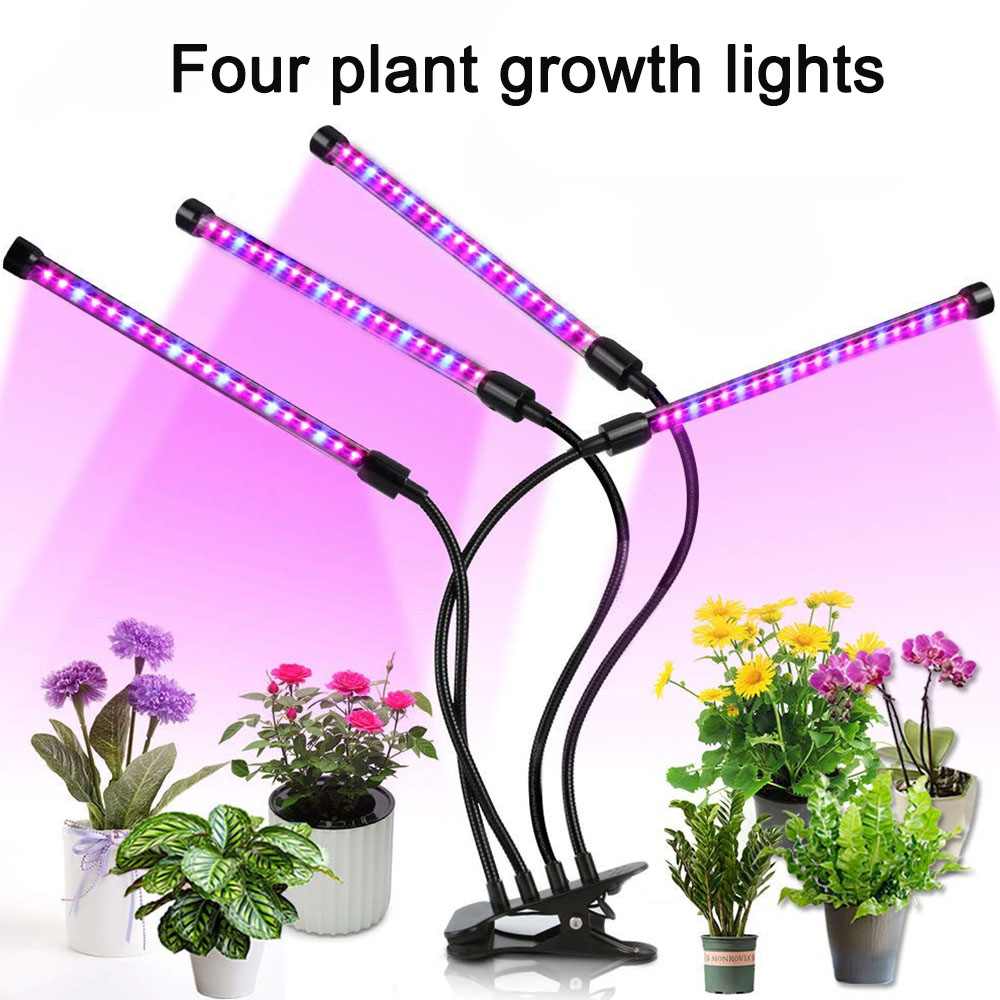 LED Grow Light 36W 4 Head Timer Plant Grow Lamp Adjustable 3 Mode Light Phyto Lamp Indoor Vegetable Flower Seedling Fitolampy