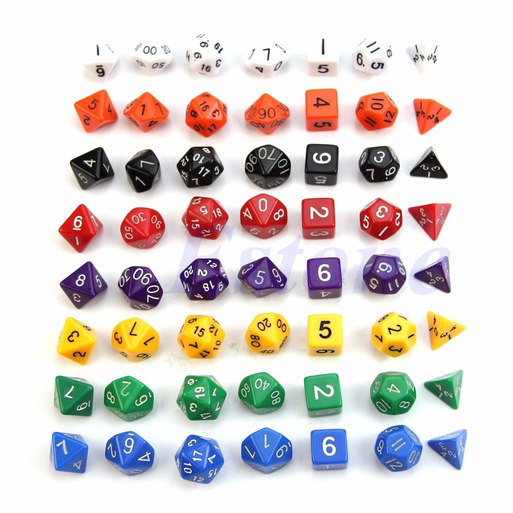 Multicolor Sided Die D4 D6 D8 D10 D12 D20 for DUNGEONS&DRAGONS RPG Poly Dice Game7pcs/set