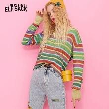 ELFSACK צבעוני פסים חמוד סוודר נשים סרוג למעלה 2019 סתיו V צוואר קוריאני בסיסית גדולה נשי סוודרים