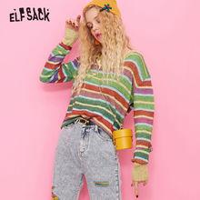 Elfsack 다채로운 스트라이프 귀여운 스웨터 여성 니트 탑 2019 가을 v 목 한국 특대 기본 여성용 스웨터