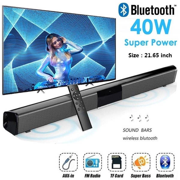 40W Super Power Wireless Bluetooth Soundbar Speaker Subwoofer TV Home Theater Soundbar + Remote Control(China)