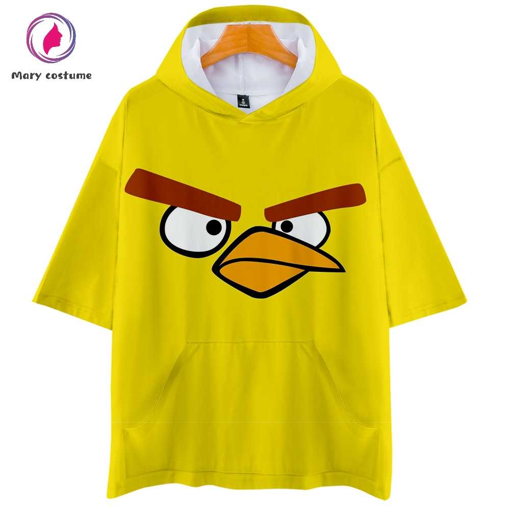 Angry Birds Hoodie Leisure short-sleeved Hoodie Sweatshirt Women Summer Hot Fashion Harajuku Streetwear