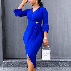 Women Dresses Three Quater Sleeves High Waist V Neck Elegant Office Ladies Work Wear Modest Slim Classy African Female Vestidos