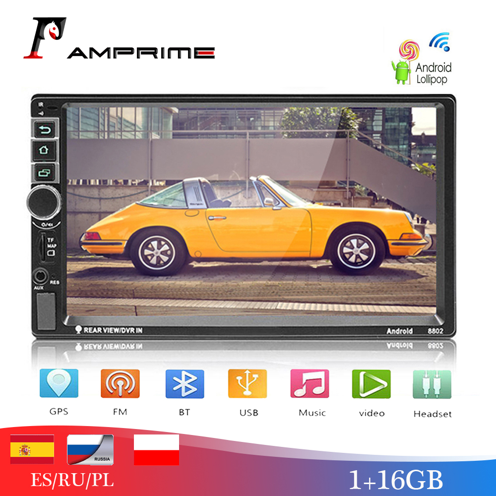 AMPrime Android Car Radio 2 Din Autoradio GPS Navigation 2din Universal Car Multimedia Player BT FM Mirrorlink Stereo Audio 8802 image