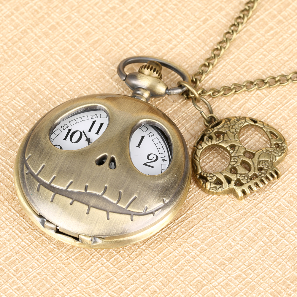 The Nightmare Before Christmas Quartz Pocket Watch Tim Burton Jack Skellington Pendant Retro Bronze Clock Gift + Skull Accessory